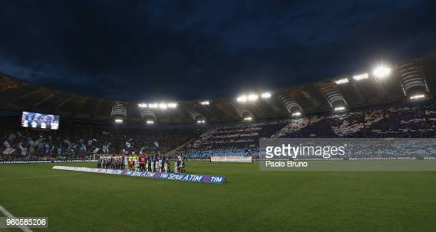 Teams line up during the Serie A match between SS Lazio and FC Internazionale at Stadio Olimpico on May 20 2018 in Rome Italy