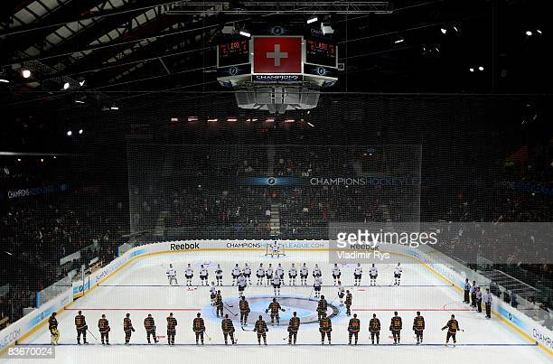 Teams line up for the anthems prior to the IIHF Champions Hockey League game between SC Bern and HV71 Jonkoping at the PostFinance-Arena on November...
