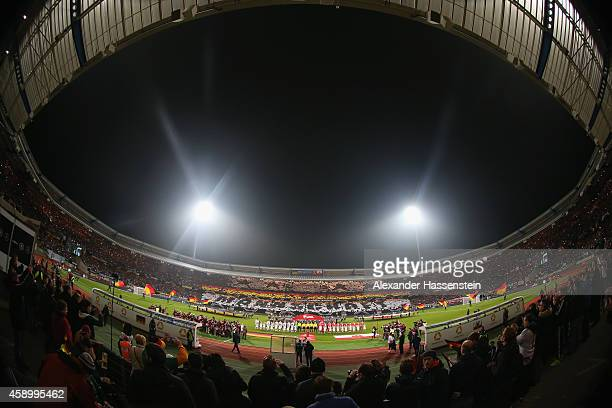 Teams line up for the EURO 2016 Group D Qualifier match between Germany and Gibraltar at Grundig Stadion on November 14 2014 in Nuremberg Germany