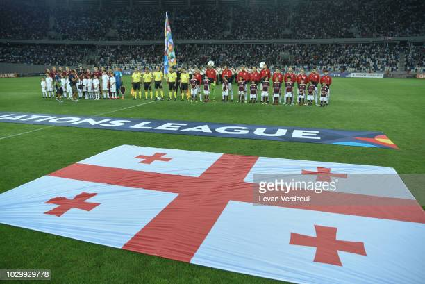 Teams line up for the national anthems during the UEFA Nations League D group one match between Georgia and Latvia at Boris Paichadze Dinamo Arena on...