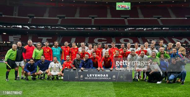 Teams line up of Spanish National Team Legends Team of Goldstandard during a friendly match between Spanish National Team Legends vs Goldstandard at...