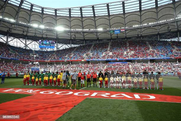 Teams line up prior to the 2018 FIFA World Cup Russia Group A match between Saudi Arabia and Egypt at the Volgograd Arena in Volgograd Russia on June...