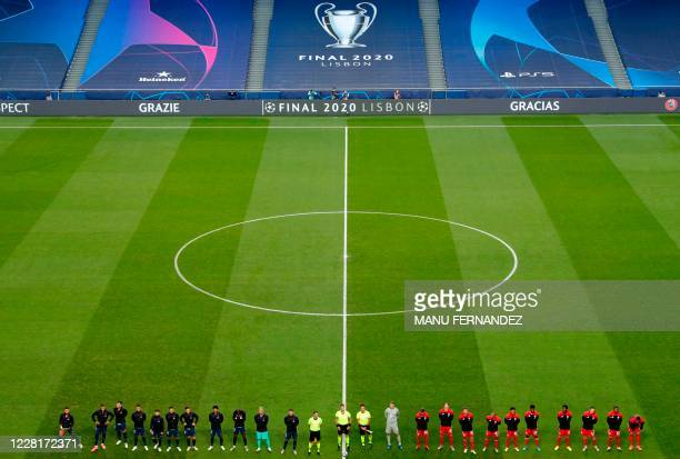 Teams line up prior to the UEFA Champions League final football match between Paris Saint-Germain and Bayern Munich at the Luz stadium in Lisbon on...
