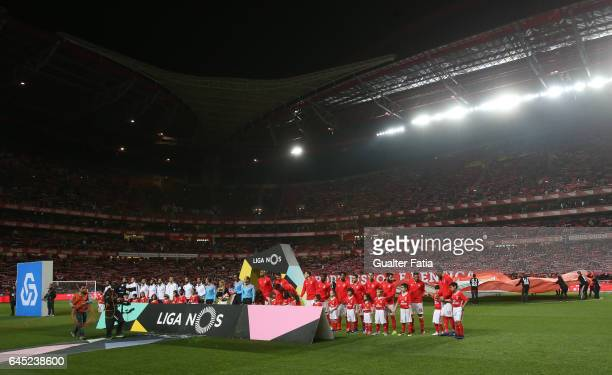 Teams lined up before the start of the Primeira Liga match between SL Benfica and GD Chaves at Estadio da Luz on February 24 2017 in Lisbon Portugal