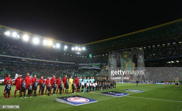 Teams lined up before the start of the UEFA Champions League match between Sporting Clube de Portugal and Olympiakos Piraeus at Estadio Jose Alvalade...