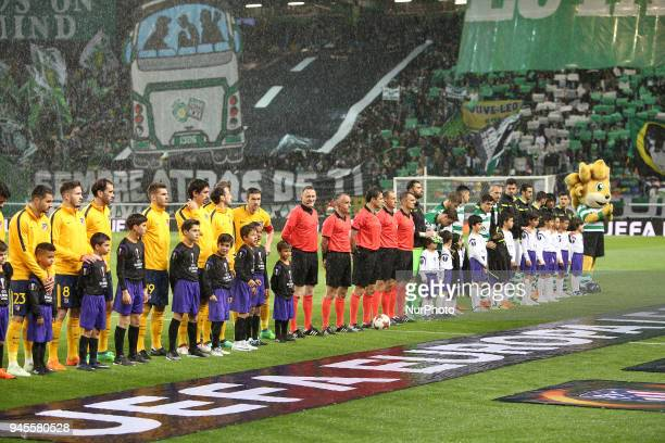 Team's lineup before the UEFA Europa League second leg football match Sporting CP vs Atletico Madrid at Alvalade stadium in Lisbon on April 12 2018