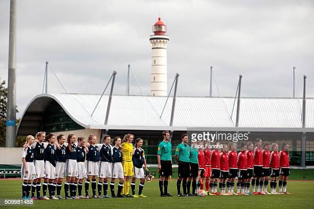 Teams lineup during the UEFA Women Under16 match between U16 Scotland v U16 Germany on February 13 2016 in Vila Real de Santo Antonio Portugal