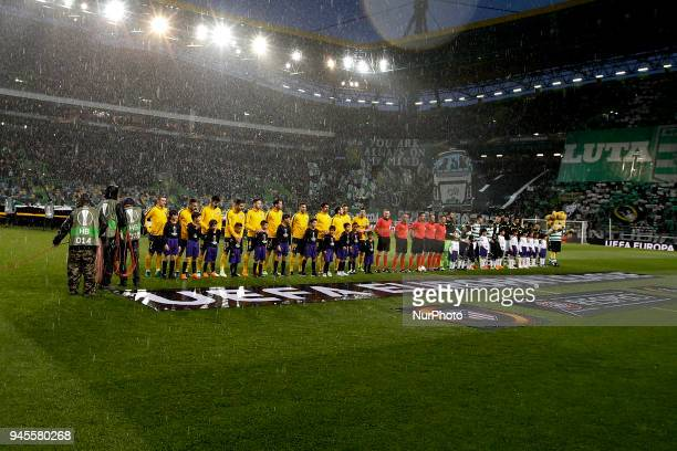 Team's lineup during UEFA Europa League quarterfinal second leg football match between Sporting CP vs Club Atletico Madrid in Lisbon on April 12 2018