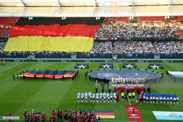 Teams lineup for the FIFA 2018 World Cup Qualifier between Germany and San Marino at on June 10 2017 in Nuremberg Bavaria