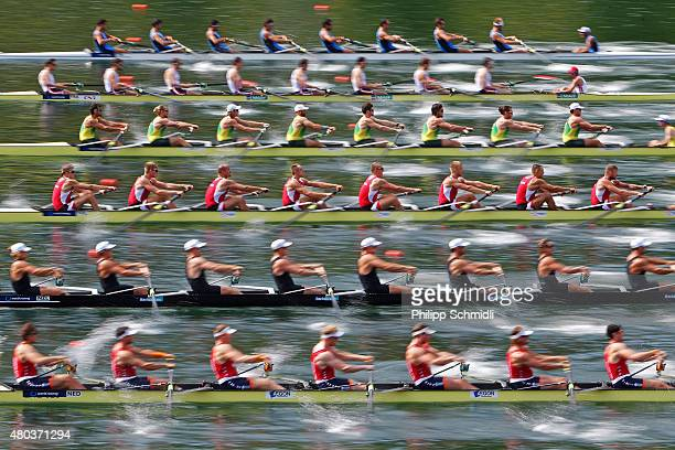 Teams of Australia Germany Great Britain Romania and Netherlands compete in the Men's Eight Repechage during Day 2 of the 2015 World Rowing Cup III...