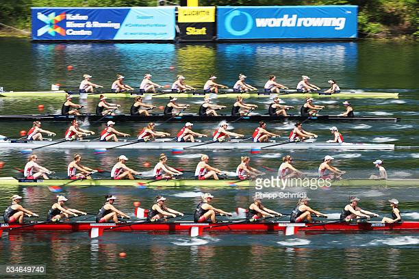 Teams of Canada the United States of America Russia New Zealand and Great Britain compete in the Women's Eight preliminary race during day 1 of the...
