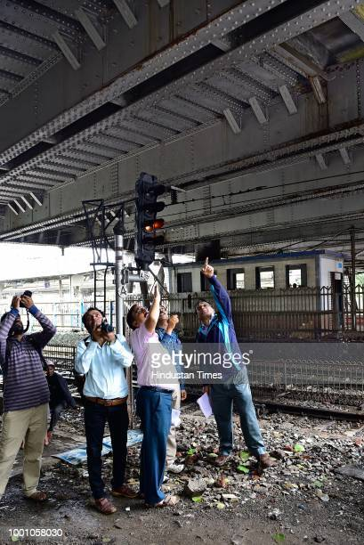 A teams of experts from IITBombay along with engineers of railways and BMC conducting safety audit of ROB at Dadar on July 17 2018 in Mumbai India...