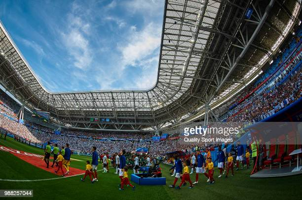 Teams of France and Argentina enter the field prior to the 2018 FIFA World Cup Russia Round of 16 match between France and Argentina at Kazan Arena...