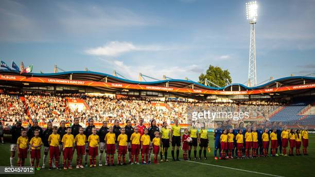 Teams of Germany and Italy line up prior the UEFA Women's Euro 2017 at Koning Willem II Stadium on July 21 2017 in Tilburg Netherlands