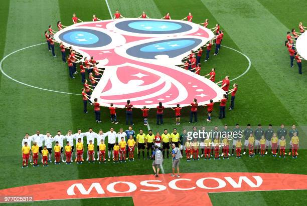 Teams of Germany and Mexico line up during the national anthems prior to during the 2018 FIFA World Cup Russia group F match between Germany and...