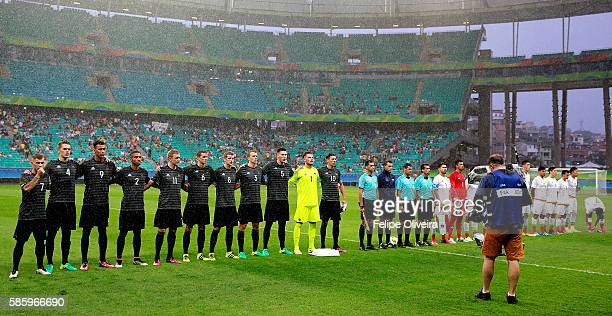 Teams of Germany and Mexico line up prior to the Men's Group C first round match between Mexico and Germany during the Rio 2016 Olympic Games at...