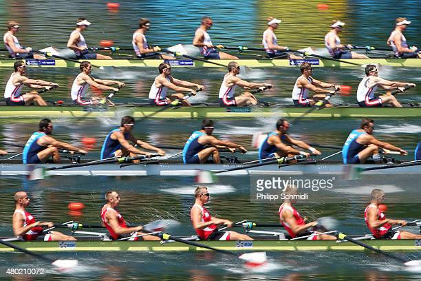 Teams of Great Britain France Italy and Poland compete in the Men's Eight heats during Day 1 of the 2015 World Rowing Cup III on Lucerne Rotsee on...