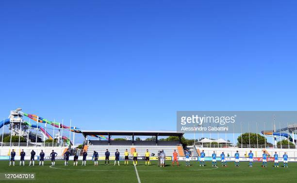 Teams of Italy U21 and Slovenia U21 line up during the International Friendly match between Italy U21 and Slovenia U21 at Stadio Guido Teghil on...
