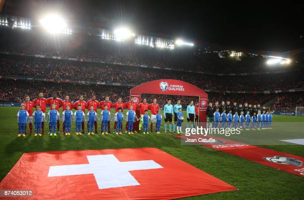 Teams of Switzerland and Northern Ireland pose before the FIFA 2018 World Cup Qualifier PlayOff Second Leg between Switzerland and Northern Ireland...