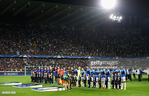 Teams officials and player escorts line up prior to the UEFA Champions League match between Club Brugge KV and Leicester City FC at Jan Breydel...