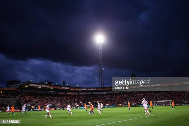 Teams play during the UEFA Women's Euro 2017 Group A match between Netherlands and Denmark at Sparta Stadion on July 20, 2017 in Rotterdam,...