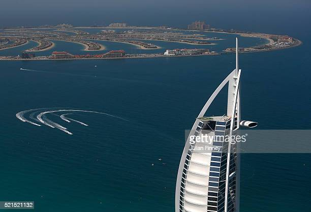 XCAT teams practice near the Palm Jumeirah and Burj Al Arab during the Dubai Grand Prix the Second round of the UIM World Series where 14 boats ae...