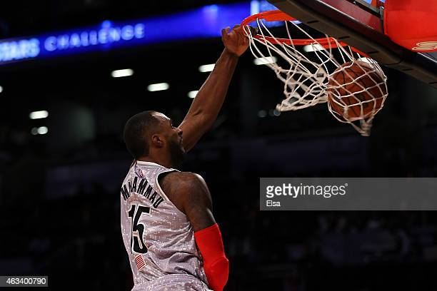 S Team's Shabazz Muhammad of the Minnesota Timberwolves dunks the ball during the BBVA Compass Rising Stars Challenge as part of the 2015 NBA Allstar...