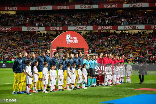 LUZ STADIUM LISBON PORTUGAL Teams sing the national anthem during the Qualifiers Group B to Euro 2020 football match between Portugal vs Ukraine...