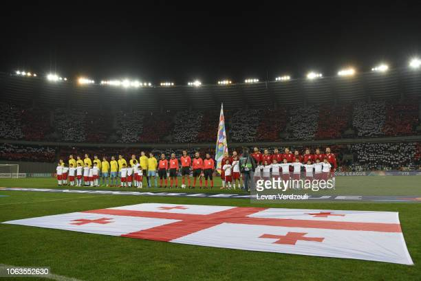 Teams stand for the national anthems during the UEFA Nations League D match between Georgia and Kazakhstan at Boris Paichadze Dinamo Arena on...