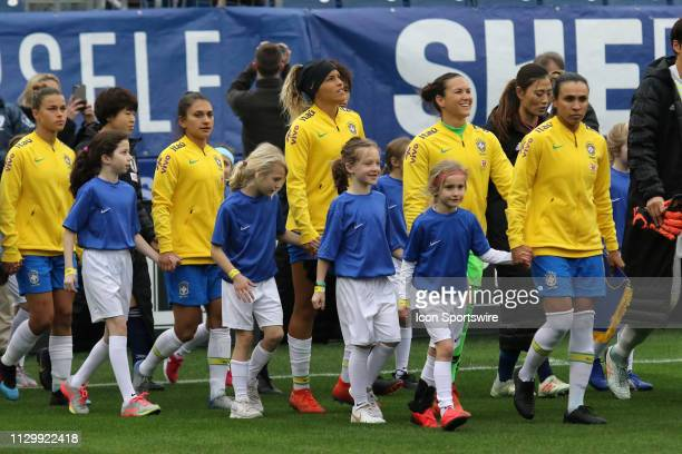 Teams take field for the SheBelieves Cup match between Brazil and Japan at Nissan Stadium on March 2nd 2019 in Nashville Tennessee