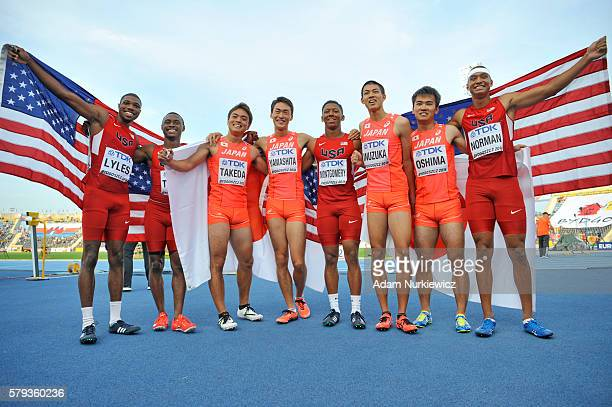 Teams USA and Japan celebrate after men's 4 x 100 metres relay during the IAAF World U20 Championships at the Zawisza Stadium on July 23 2016 in...