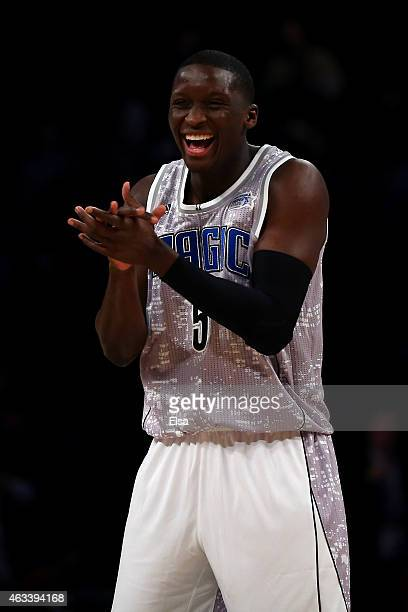 S Team's Victor Oladipo of the Orlando Magic reacts against the World Team during the BBVA Compass Rising Stars Challenge as part of the 2015 NBA...