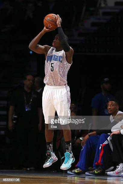 S Team's Victor Oladipo of the Orlando Magic shoots a three point basket during the BBVA Compass Rising Stars Challenge as part of the 2015 NBA...