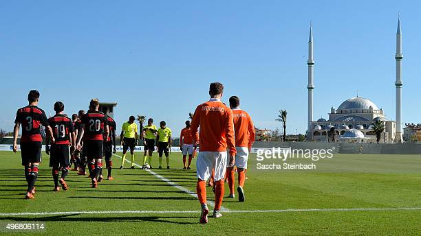 Teams walk onto the pitch prior to the U18 four nations friendly tournament match between Netherlands and Germany at Emirhan Sport Complex on...