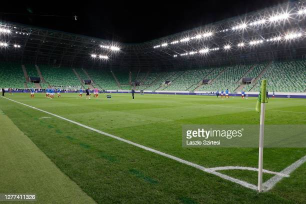 Teams warm up during the UEFA Champions League Play-Offs Second Leg match between Ferencvarosi TC and Molde FK at Ferencvaros Stadium on September...
