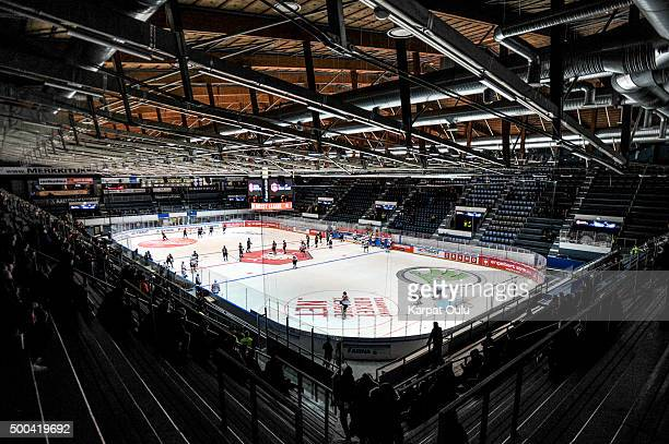 Teams warming up before the game during the Champions Hockey League quarter final between Karpat Oulu and Espoo Blues at Oulun Energia-Areena on...