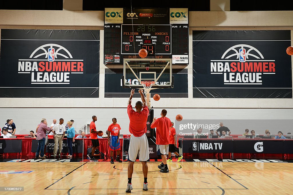 Teams Warm-up prior to the kick off of the Las Vegas Summer League where The New York Knicks versus the New Orleans Pelicans during NBA Summer League on July 12, 2013 at the Cox Pavilion in Las Vegas, Nevada.