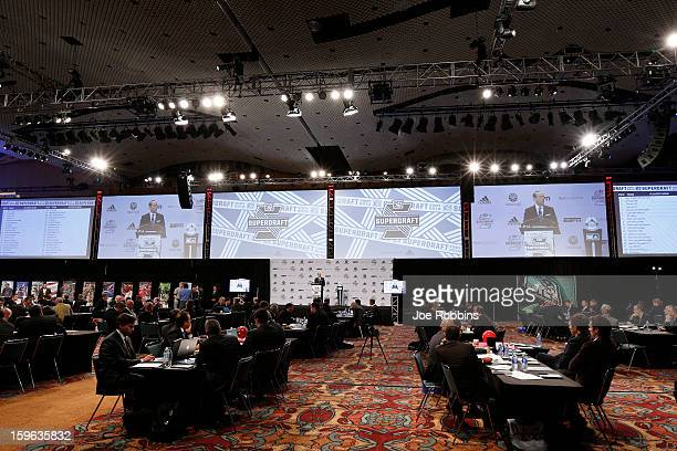 Teams work at their respective tables during the 2013 MLS SuperDraft Presented by Adidas at the Indiana Convention Center on January 17 2013 in...