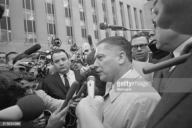 Teamster President James Hoffa makes a brief statement to newsmen as he arrives at the U.S. District Court Building today where he turned himself...