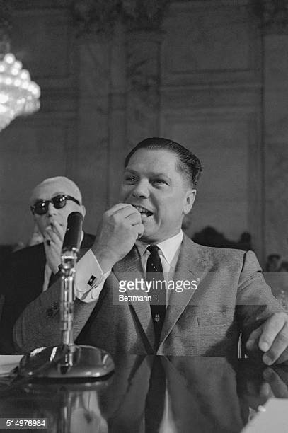 Teamster President James R. Hoffa shown as he testified before the Senate Labor Rackets Committee today. Hoffa refused immediate comment on the...