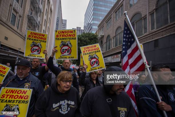 Teamsters march on May Day on May 1 2018 in Los Angeles California Numerous May Day or International Workers Day marches are taking place in the...