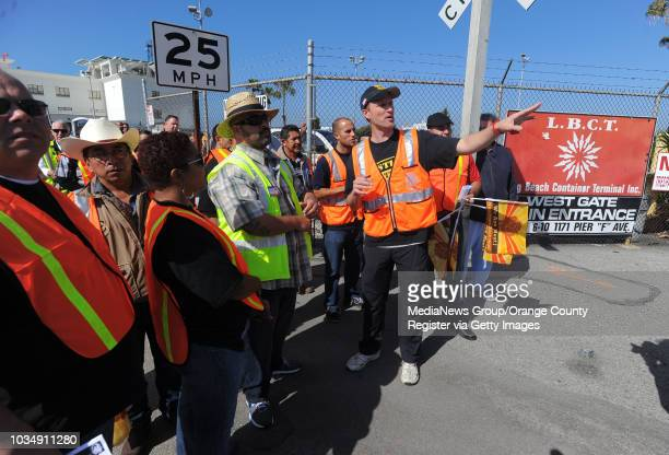 Teamsters members organize their picket at the Long Beach Container Terminal in Long Beach CA on Monday April 28 2014 Teamsters are planning a 48hour...