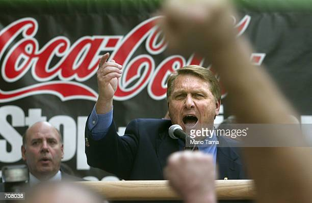 Teamsters President James P. Hoffa leads a protest against Coca-Colas lack of a worldwide worker protection agreement April 17, 2002 in New York...