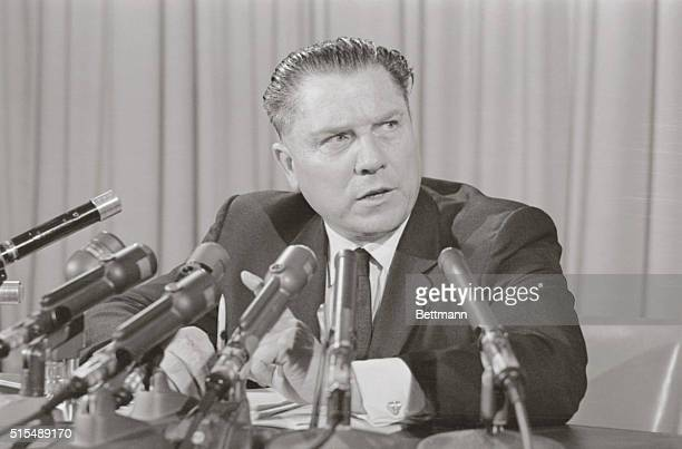 Teamsters President James R Hoffa shown during his press conference announced wagebenefit demands on the trucking industry that would cost $200...