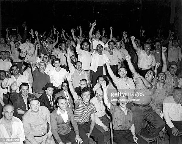 Teamsters rallying at local 807 in support of the National Maritime Unions Strike New York New York 1936