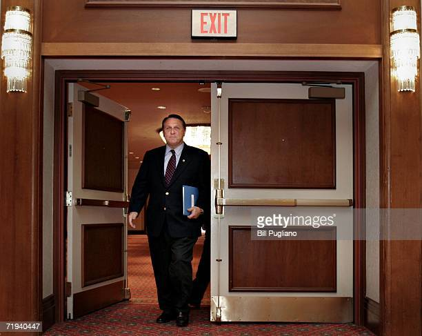 Teamsters Union General President James Hoffa enters a room for a press conference to discuss the opening of the national contract negotiations with...