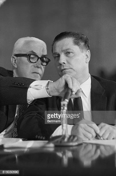 Teamsters Union heir apparent, James R. Hoffa, is shown listening to wiretap evidence that he attempted to squeeze mobster Johnny Dio into the union...