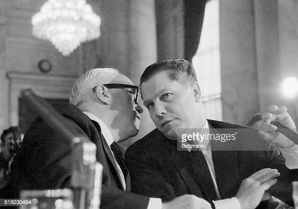 Teamsters Vice President James R Hoffa lends an ear to his attorney George Fitzgerald during a questionanswer session before the Senate Rackets...