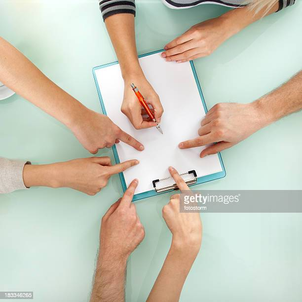 Teamwork - Business hands working with document on meeting