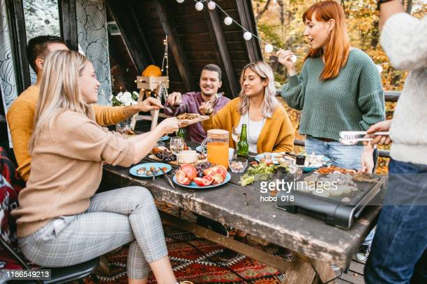 teamwork food preparing for dinner party - free thanksgiving stock pictures, royalty-free photos & images